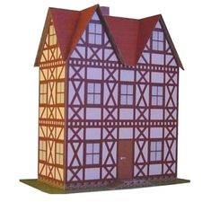 Tudor Style House And Half-Timbered House Paper Models In 1/50 Scale - by Projekt Bastelbogen