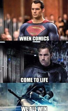 When Comics Come To Life We All Win. Sorry, not sorry, this is how I feel about all comic book movies and tv shows. Thanks for making this the BEST time to be a geek. Batman Wonder Woman, I Am Batman, Batman Vs Superman, Captain Marvel, Marvel Dc, Superman Dawn Of Justice, Blockbuster Movies, Superhero Movies, Gotham City