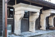 Antique Castle Fireplace Mantels, Saint Agnant White Limestone Fireplace Mantels