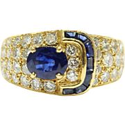 Vintage Van Cleef and Arpels Sapphire and Diamond Buckle Ring