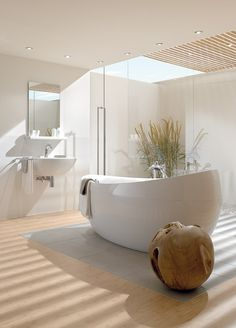 Feng Shui style bathroom with amazing skylight.