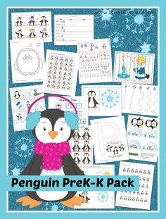 Penguin Prek K Printable Pack With 32 Activities In Over 50 Pages Free