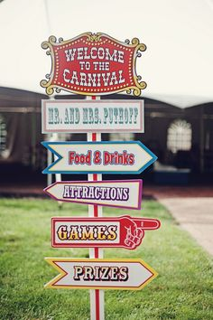 Circus themed wedding signs