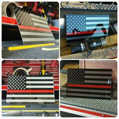 Thin Red Line American Flag Painted Firefighter by CavellaDesign