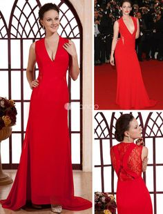 Red Deep V-Neck Lace Chiffon Cannes Film Festival Dress. Paint the town red in this form-fitting sheath dress. It features a plunging neckline, tailored shape and gorgeous lace insert in the back. The floor-length skirt falls in soft clean lines to the floor before pooling at your.. . See More Cannes Film Festival Dresses at http://www.ourgreatshop.com/Cannes-Film-Festival-Dresses-C901.aspx