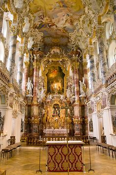 Church in the Wies (Wieskirche) near Steingaden in Bavaria (Germany), established 1745 and world heritage by UNESCO