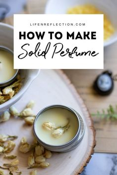 Make this solid perfume recipe - a luxurious multi-layered scent of the heady, rich florals jasmine and geranium with a top note of sweet, citrusy grapefruit. Blended with natural beeswax and oil, poured over delicate dried jasmine flowers into zero Perfume Good Girl, Perfume Hermes, Perfume Versace, Perfume Diesel, Flower Perfume, Recipes, Aromatherapy, Herbs, Home Remedies