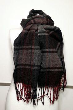 Double Edged Scarf -Cashmere Men's Scarf - Black and Gray Scarf - Wool Men's Scarf - BP345 #handmadeatamazon #nazodesign