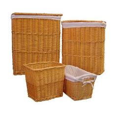 Organize It All 4-piece Honey Willow Hamper and Basket Set   Overstock.com Shopping - Great Deals on Organize It All Hampers