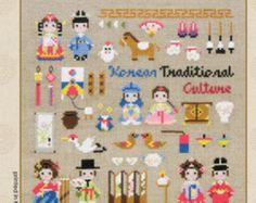 Kits - la historia de la tradición coreana, motivos de la tradición coreana, samplers y patrones de punto de Cruz moderno