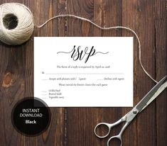 INSTANT DOWNLOAD Pdf Template 3,5x5 RSVP Card Wedding Rsvp postcards Editable Calligraphy wedding Reply Card Printable Digital #DP110_25 by DreamPrintable on Etsy
