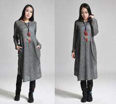 Ramies - Asymmetrical Knit Long Dress with Folds