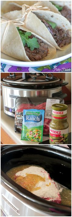 Slow Cooker Salsa Verde Beef Tacos Recipe ~ Seriously has the BEST flavor. Worked with chicken too Slow Cooker Shredded Beef, Shredded Beef Tacos, Slow Cooker Salsa, Crock Pot Slow Cooker, Slow Cooker Recipes, Mexican Food Recipes, Crockpot Recipes, Cooking Recipes, Recipes Dinner