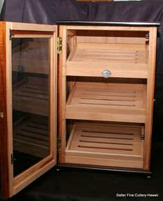 "Display humidor 16x12x24.5"". Glass sides. Solid koa wood with wenge accents. Removable  display trays. Locking latch for commercial use www.SalterFineCutlery.com"