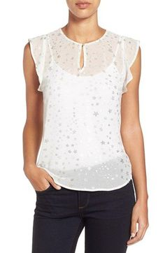 Two by Vince Camuto Foiled Star Print Ruffled Keyhole Blouse available at #Nordstrom