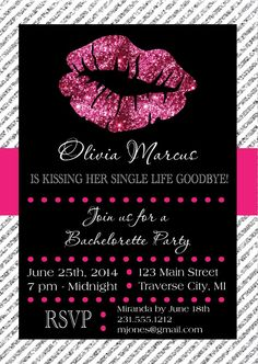 Lips Bachelorette Party Invitation @Kelsey Myers Myers , SO CUTE!!!