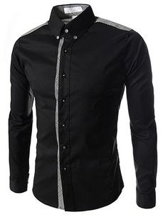 (AL972-BLACK) Slim Fit Stretchy 2 Tone Checker Patched Long Sleeve Shirts 490762a56de36