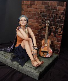 Damia by Renata Jansen One of a Kind OOAK 3D Paintings in Clay - Polymer Sculptures