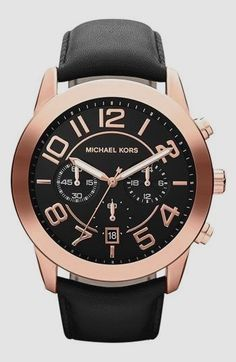 59425fc6e0 Shop for Michael Kors  Mercer  Large Chronograph Leather Strap Watch