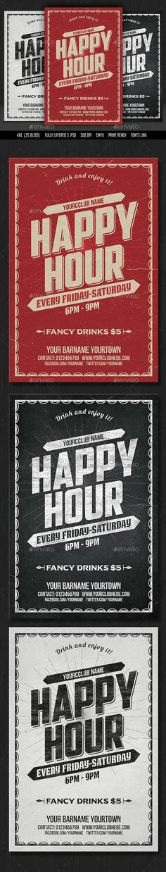 Happy Hour Flyer Template PSD. Download here: http://graphicriver.net/item/happy-hour-flyer/15349114?ref=ksioks