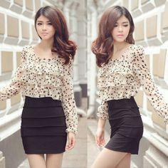Korean Cute Spot Chiffon Blouse Womens Mini Black Dress Long Sleeve Ruffles 6125 | eBay