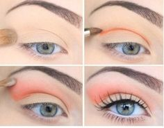 Peach or coral eyeshadow looks great with blue eyes, perfect for spring and summer Coral Eye Makeup, Coral Eyeshadow, Spring Eye Makeup, Brown Eyeshadow, Makeup For Green Eyes, Eyeshadow Makeup, Makeup Cosmetics, Makeup Brushes, Summer Makeup