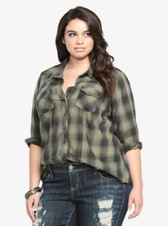 Inspired by the classic borrowed-from-the-boy style, we've re-imagined the plaid shirt and given it a little edge. Bronze tone square studs adorn the collar of this green and black plaid button down camp shirt.