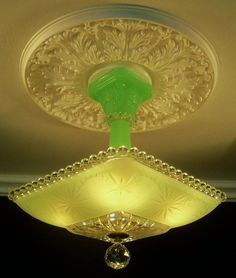 30'S AMAZING ART DECO JADEITE CEILING LIGHT FIXTURE CHANDELIER