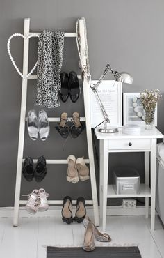 """~ """"Sober"""" grey   ~ ladder as a practical & pretty solution for favorite shoes display   ~ nightstand with """"Cotton & Pebbles"""" print from our Domestic Stories Shop. Smiles :*)"""