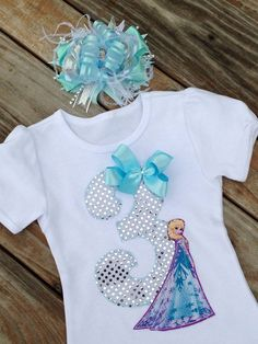 Frozen Elsa inspired birthday shirt. ELSA birthday and hair bow. FROZEN Birthday. Frozen fabric