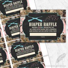 Guns or Glitter Camo Gender Reveal Diaper Raffle Tickets