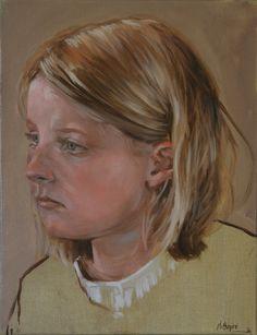 jeune demoiselle  huile sur toile 27x35 jb©