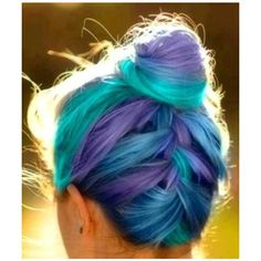 blue & purple hair ❤ liked on Polyvore featuring hair, hairstyles, hair styles, pictures and people
