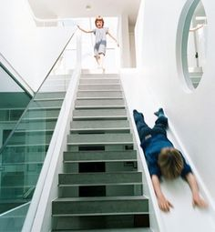 Staircases. Seriously. All kids want this, but adults made it seem like foolishness. How many times do you throw something down the steps (in laziness) when it would have been better to slide it down gently??? I ask you.. Not to mention the epic-ly  awesomeness of it all