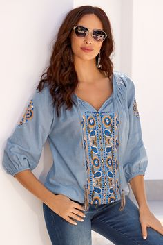 Carefree boho style embroidered peasant blouse!