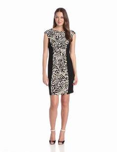 Tiana B Women's Printed Dress With Black Sides, Ivory/Black, X-Large