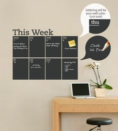 This chalkboard write and erase weekly planner decal is the perfect solution to keep you organized! The days of the week are cut into the Chalkboard