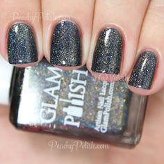 "Glam Polish Don't Stop Believin' | Broadway Collection | Peachy Polish ""Don't Stop Believin'"" has a black jelly base with matching metallic and holographic microglitter and shimmer mixed with some subtle golden shimmer and microglitter.  2 coats"