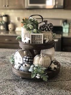 35 best farm charm decor tier tray 26 ~ Home Design Ideas Thanksgiving Table, Thanksgiving Decorations, Seasonal Decor, Table Decorations, Festival Decorations, Centerpieces, Fall Home Decor, Autumn Home, Tray Styling