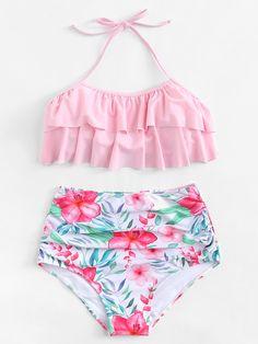 Shop Flounce Halter Top With Flower Print High Waist Bikini online. SHEIN offers Flounce Halter Top With Flower Print High Waist Bikini & more to fit your fashionable needs. Bathing Suits For Teens, Summer Bathing Suits, Cute Bathing Suits, Trendy Bikinis, Cute Bikinis, Flounce Bikini, Floral Bikini, Bikini Swimwear, Summer Outfits
