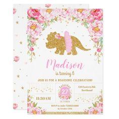 Pink Floral Dinosaur Triceratops Birthday Girl Invitation Dinosaur Birthday Invitations, Dinosaur Birthday Party, First Birthday Parties, Girl Birthday, First Birthdays, Birthday Ideas, Birthday Stuff, Birthday Gifts, Happy Birthday