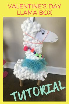 This llama Valentine's Day Box was so much fun to make. It's sure to stand out in the classroom! Valentine Day Boxes, Valentines For Kids, Valentine Crafts, Valentine Ideas, Toddler Crafts, Crafts For Kids, Diy Crafts, Cotton Ball Crafts, School Holiday Crafts