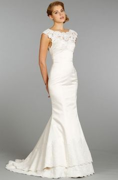 Alvina Valenta - Bateau Mermaid Gown in Alencon Lace