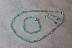 Aquamarine Set Bracelet earrings Necklace Mermaid by KimberlyHahn, $189.00