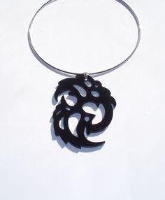 Black Plexiglas Tribal Swirl