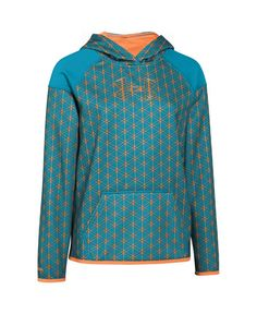 Under Armour Girls' UA Armour Fleece Novelty Big Logo Hoodie Large Pacific. Armour® Fleece fabric finished with highly water-resistant UA Storm technology. Soft, brushed inner layer traps heat for all-day warmth and comfort. Signature Moisture Transport System wicks sweat to keep you dry and light. Mesh lined, 2-piece hood with crossover neck for enhanced comfort. Shaped drop-trail hem offers superior back coverage.