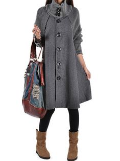 Gracila Long Sleeve Patchwork Single-Breasted Women Turtleneck Coat