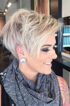 ... Asymmetrical pixie haircut,
