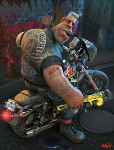 Caricature of Mr Ron Perlman, as Clay Morrow from Sons of Anarchy. Created using Zbrush, Maya, Mental Ray and Photoshop. Cartoon Faces, Funny Faces, Cartoon Art, Funny Caricatures, Celebrity Caricatures, Motorcycle Art, Bike Art, Harley Davidson, David Mann Art