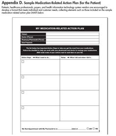 Figure 4. CMS Medication-Related Action Plan Template